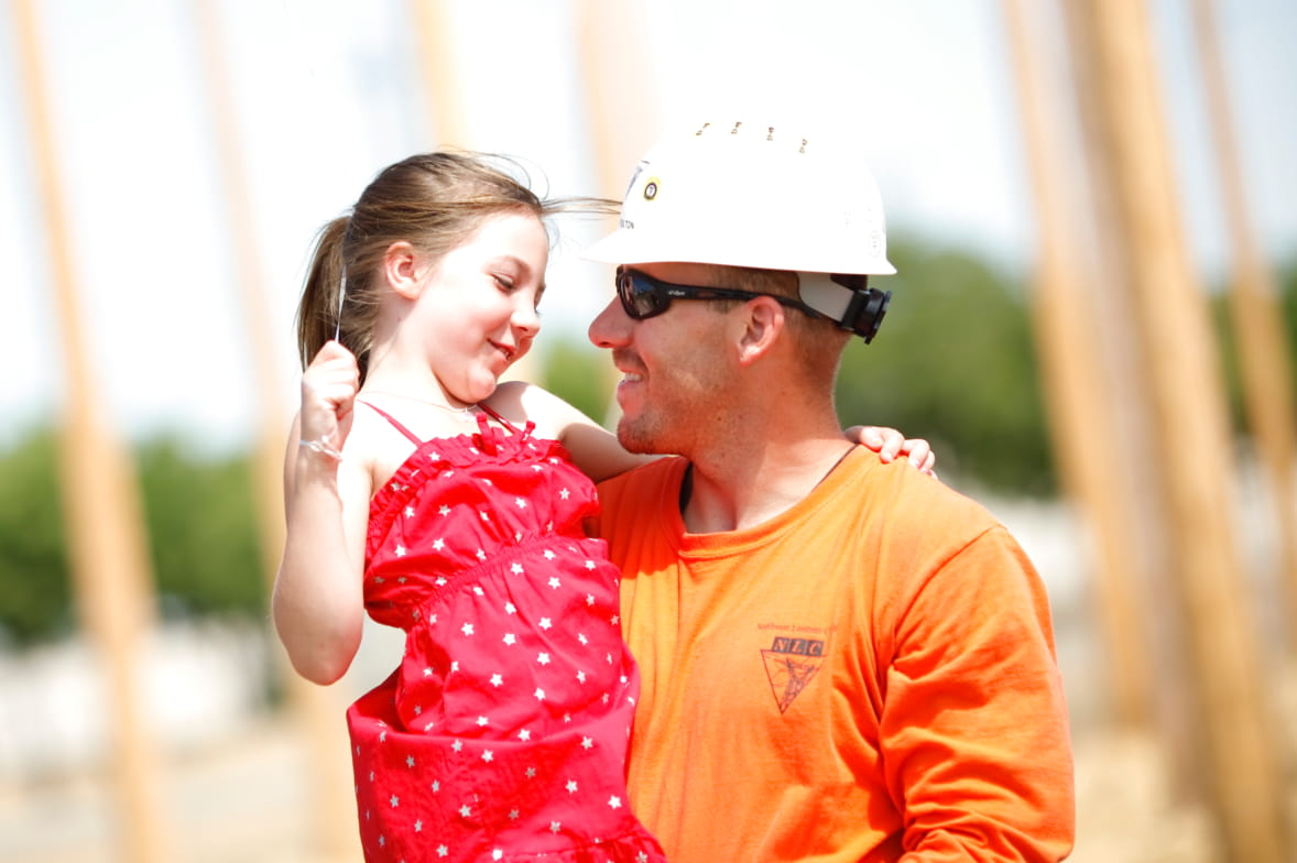Lineworker and his daughter